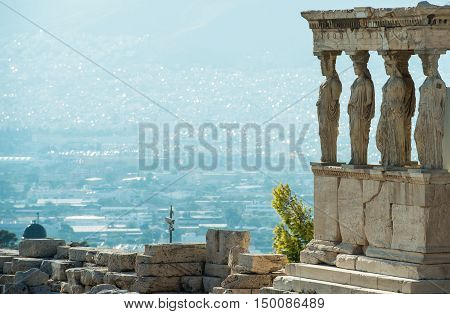 Replicas of caryatids statues of Erechtheion temple Acropolis of Athens are enjoying good deal of attention of the visitors.