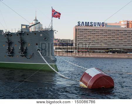 Saint Petersburg Russia September 08 2016: Forecastle gun of the cruiser Aurora in Saint-Petersburg Russia