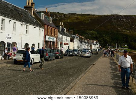 ULLAPOOL, SCOTLAND--AUGUST 18, 2016--A view of the village Ullapool facing the harbor.  Ullapool is a major Scottish tourist attraction.