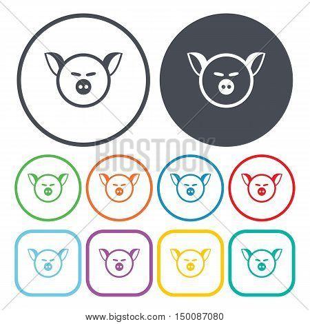 pig muzzle icon on white background for web