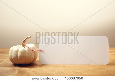 Blank Message Card With White Pumpkin