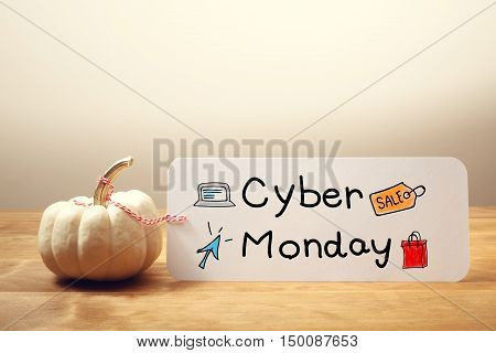 Cyber Monday Message With Small Pumpkin