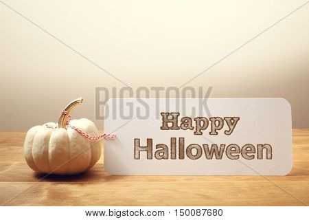Happy Halloween Message With Small Pumpkin