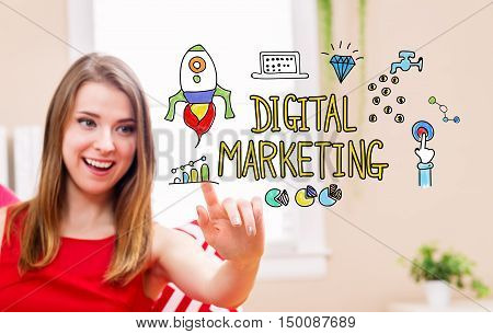 Digital Marketing Concept With Young Woman