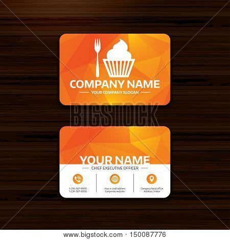Business or visiting card template. Eat sign icon. Dessert trident fork with muffin. Cutlery symbol. Phone, globe and pointer icons. Vector