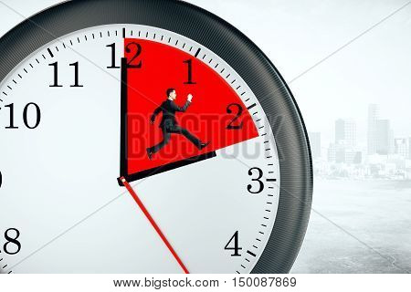 Tiny businessman running inside clock with red quarter on city background. Deadline concept. 3D Rendering