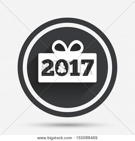 Happy new year 2017 sign icon. Christmas gift anf tree. Circle flat button with shadow and border. Vector