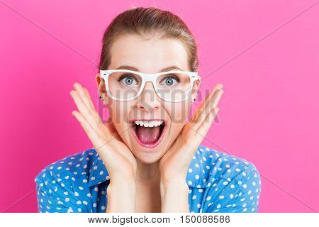 Surprised Young Woman Posing