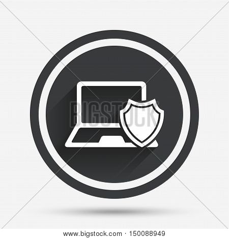 Laptop protection sign icon. Notebook with shield symbol. Circle flat button with shadow and border. Vector