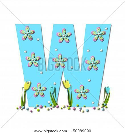 Alphabet letter W in the set Spring Explodes is covered by polka dots and 3d flowers. Colored pastel sprinkles are at base of letter and tulips bloom in two colors.