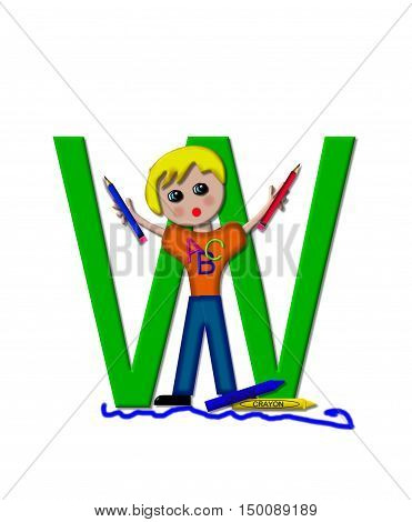 The letter W in the alphabet set