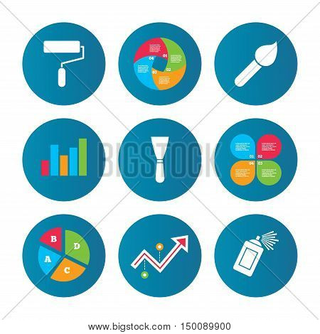 Business pie chart. Growth curve. Presentation buttons. Paint roller, brush icons. Spray can and Spatula signs. Wall repair tool and painting symbol. Data analysis. Vector