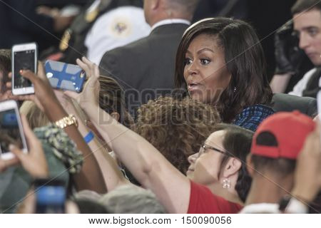 27 September 2016 - Philadelphia USA - First Lady Michelle Obama holds campaign rally for Hillary Clinton in Philadelphia Lasalle University. Photo Credit: Rudy.K