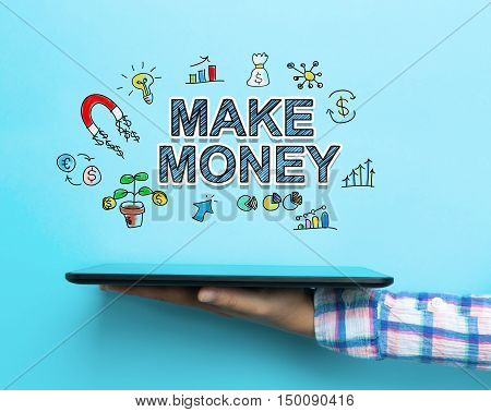 Make Money Concept With A Tablet