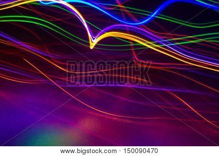 multicolored light streaks light painting back drop