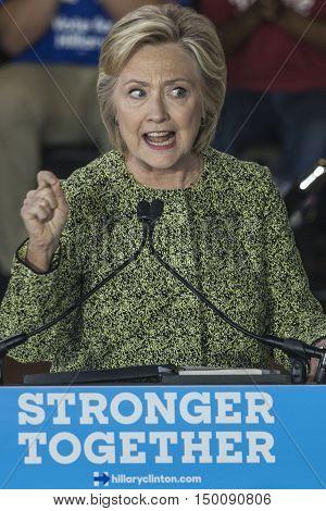 19 September 2016 - Philadelphia USA - Secretary of State Hillary Clinton campaigns rally at Temple University Philadelphia.