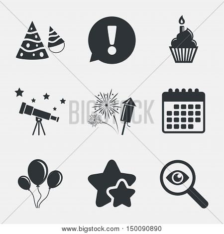 Birthday party icons. Cake, balloon, hat and muffin signs. Fireworks with rocket symbol. Cupcake with candle. Attention, investigate and stars icons. Telescope and calendar signs. Vector
