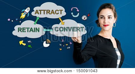 Attract Convert Retain Concept With Business Woman