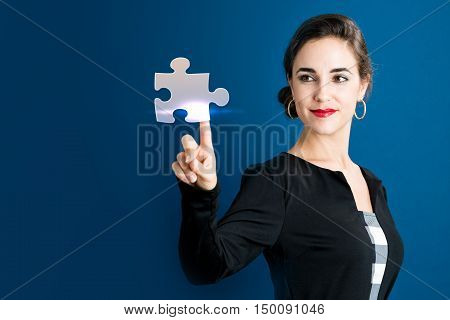 Puzzle Icon With Business Woman