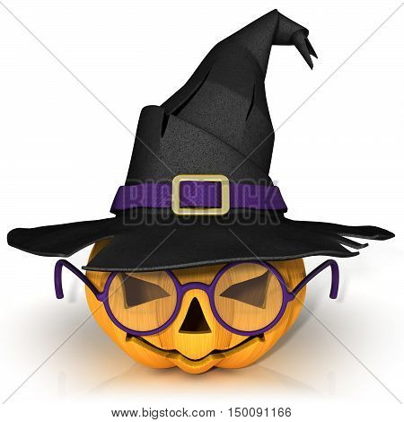 Funny Jack O Lantern. Halloween pumpkin with purple glasses wearing a witch's hat. Isolated on white background.