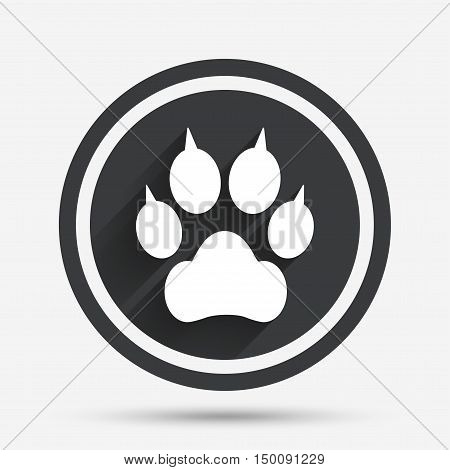 Dog paw with clutches sign icon. Pets symbol. Circle flat button with shadow and border. Vector