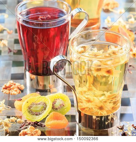 Concept Of Herbal Tea. Variety Of Herbal Teas In Glass Mugs. Healthy Caffein-free Drinks. Chamomile,