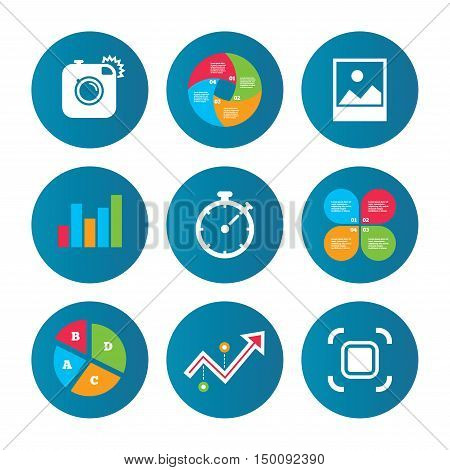 Business pie chart. Growth curve. Presentation buttons. Hipster retro photo camera icon. Autofocus zone symbol. Stopwatch timer sign. Landscape photo frame. Data analysis. Vector