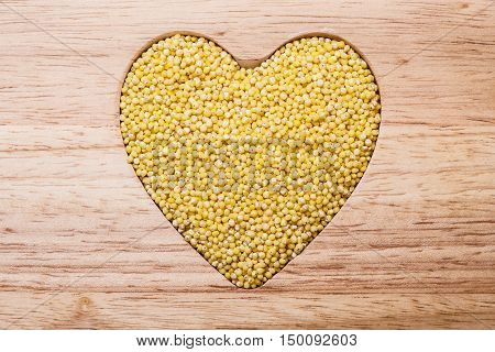 Millet Groats Heart Shaped