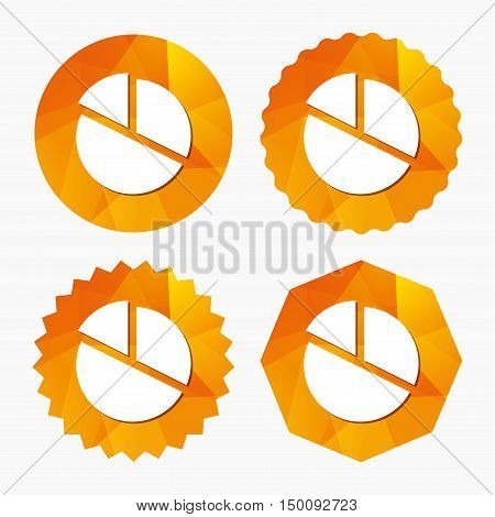 Pie chart graph sign icon. Diagram button. Triangular low poly buttons with flat icon. Vector