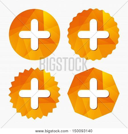 Plus sign icon. Positive symbol. Zoom in. Triangular low poly buttons with flat icon. Vector