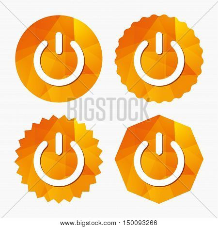 Power sign icon. Switch on symbol. Turn on energy. Triangular low poly buttons with flat icon. Vector