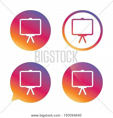 Presentation billboard sign icon. Clean board symbol. Gradient buttons with flat icon. Speech bubble sign. Vector