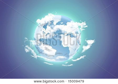 Earth With White Clouds On A Color Background