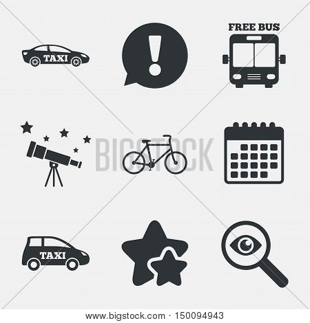Public transport icons. Free bus, bicycle and taxi signs. Car transport symbol. Attention, investigate and stars icons. Telescope and calendar signs. Vector