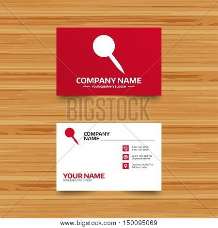 Business card template. Pushpin sign icon. Pin button. Phone, globe and pointer icons. Visiting card design. Vector