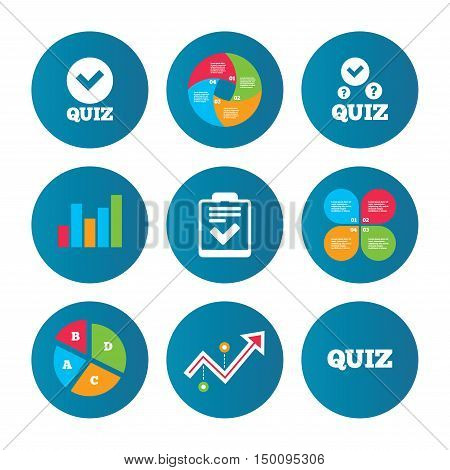 Business pie chart. Growth curve. Presentation buttons. Quiz icons. Checklist with check mark symbol. Survey poll or questionnaire feedback form sign. Data analysis. Vector