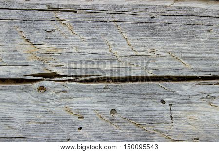 texture old dry board part of the construction of wooden house close up.