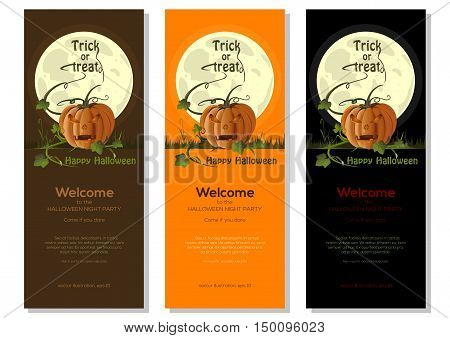 Multicolored Halloween banners set with jack-o'-lantern on a background of the full moon. Vector illustration.