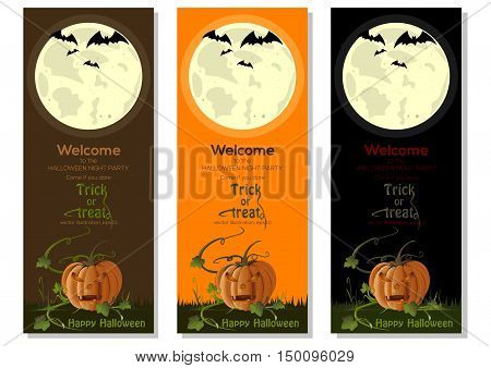 Multicolored Halloween banners set with jack-o'-lantern and full moon. Vector illustration