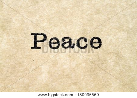 A close up image of the word peace from a typewriter