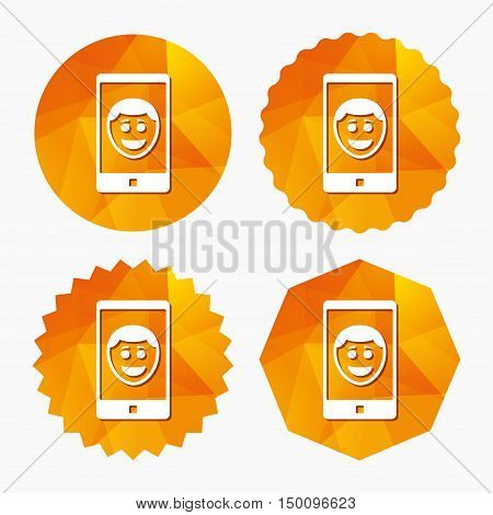 Selfie smile face sign icon. Self photo symbol. Happy smiley. Triangular low poly buttons with flat icon. Vector