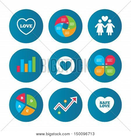 Business pie chart. Growth curve. Presentation buttons. Lesbians couple sign. Speech bubble with heart icon. Female love female. Heart symbol. Data analysis. Vector