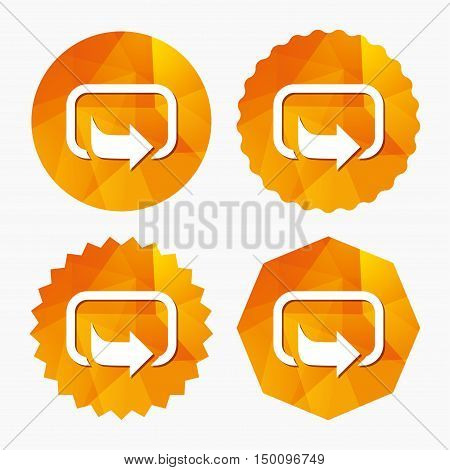 Action sign icon. Share symbol. Triangular low poly buttons with flat icon. Vector