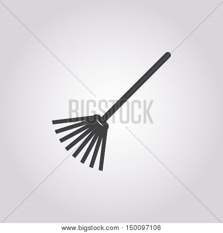 rake icon on white background for web