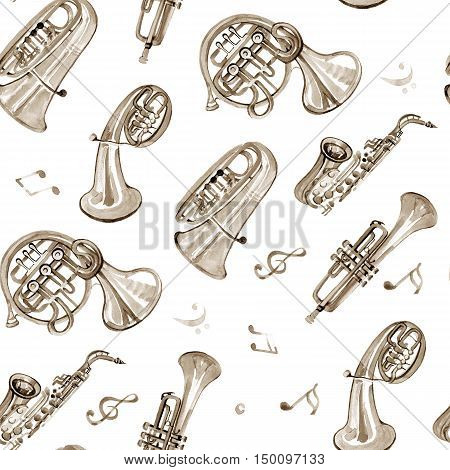 Watercolor copper brass band music pattern on white background
