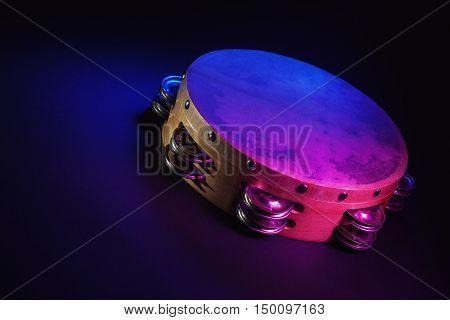 Wooden Tambourine In Studio