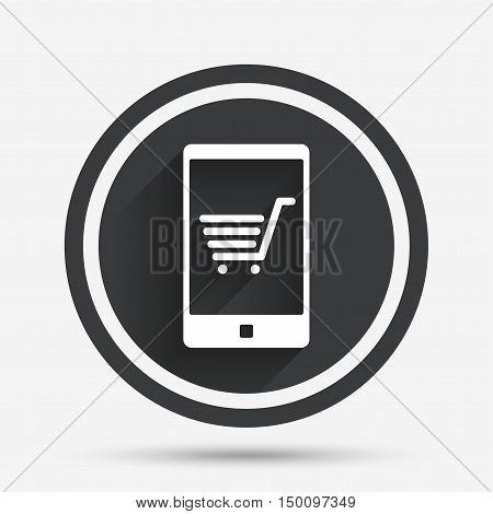 Smartphone with shopping cart sign icon. Online buying symbol. Circle flat button with shadow and border. Vector