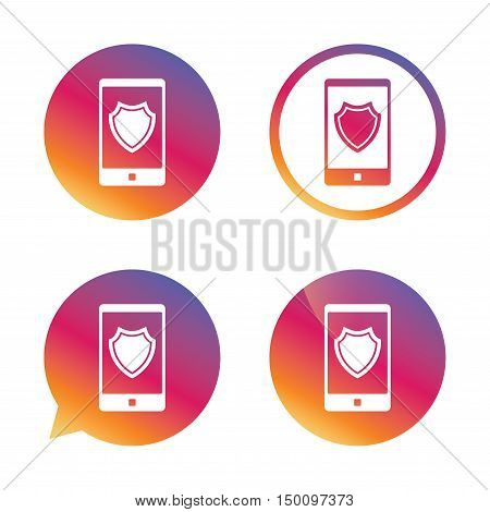 Smartphone protection sign icon. Shield symbol. Gradient buttons with flat icon. Speech bubble sign. Vector