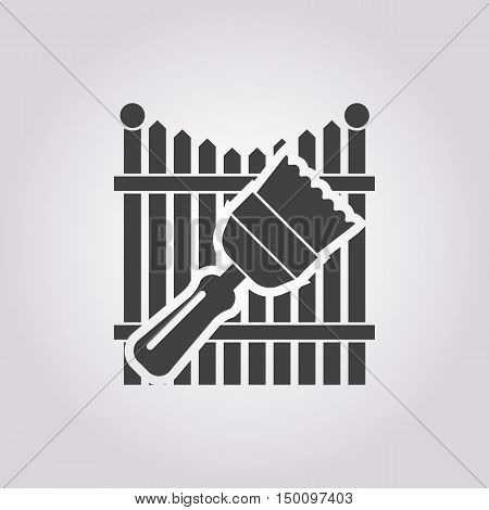 fence icon on white background for web