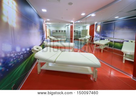 MOSCOW - DEC 25, 2014: Room for massage of football players in Spartak stadium. New stadium is included in list of objects for games will be played at 2018 World Cup